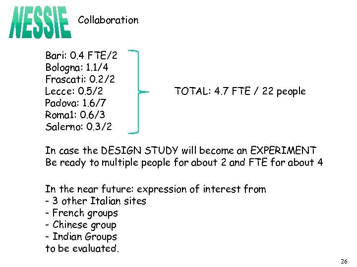 Collaboration Bari: 0. 4 FTE/2 Bologna: 1. 1/4 Frascati: 0. 2/2 Lecce: 0. 5/2