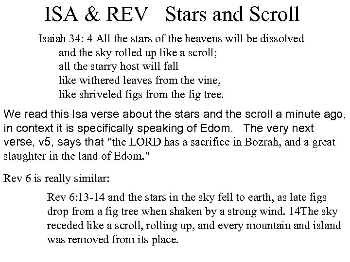 ISA & REV Stars and Scroll Isaiah 34: 4 All the stars of the
