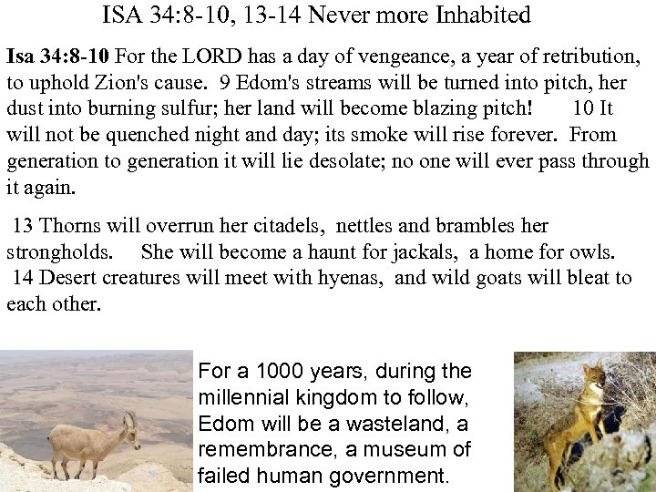 ISA 34: 8 -10, 13 -14 Never more Inhabited Isa 34: 8 -10 For