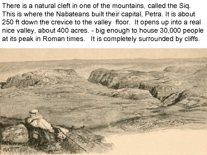 There is a natural cleft in one of the mountains, called the Siq. This
