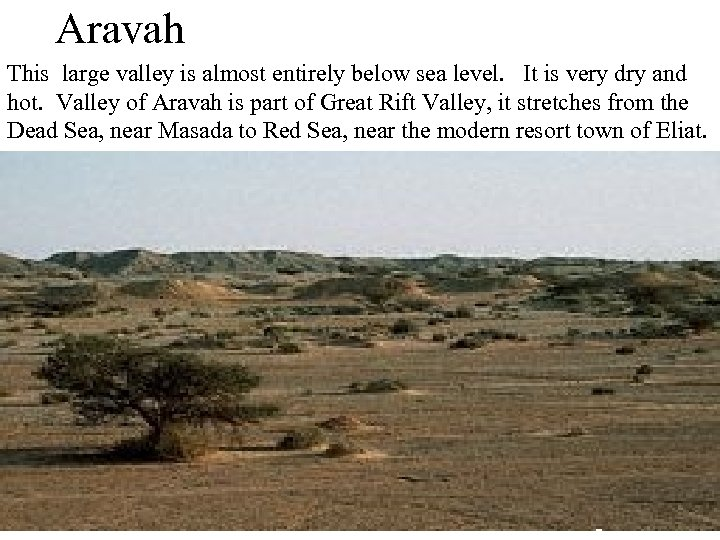 Aravah This large valley is almost entirely below sea level. It is very dry