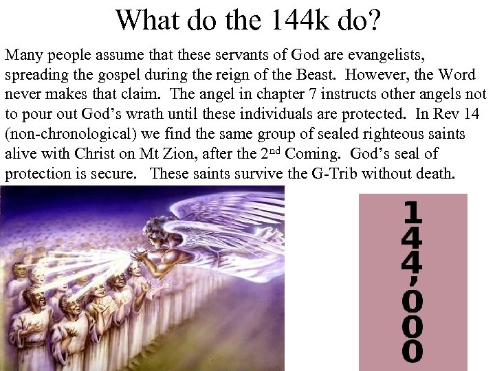 What do the 144 k do? Many people assume that these servants of God