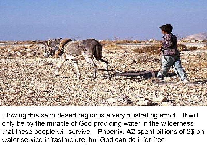 Plowing in desert Plowing this semi desert region is a very frustrating effort. It