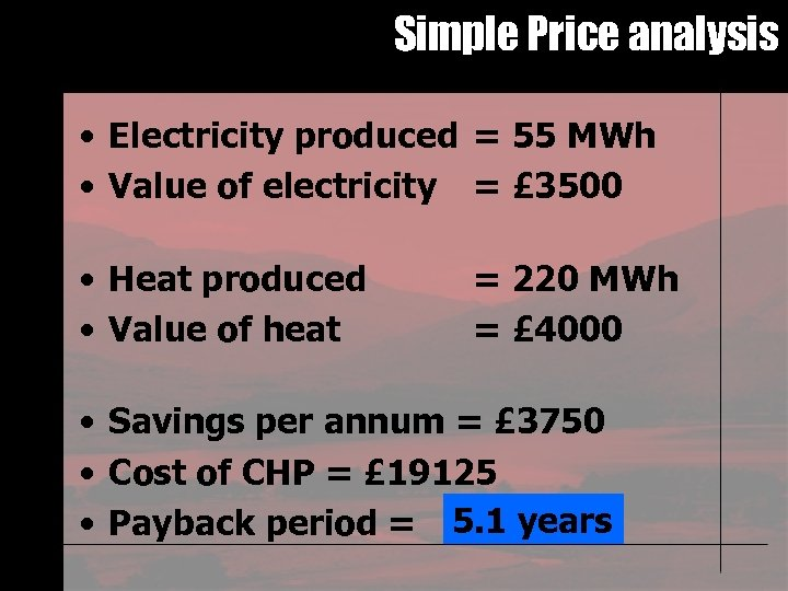Simple Price analysis • Electricity produced = 55 MWh • Value of electricity =