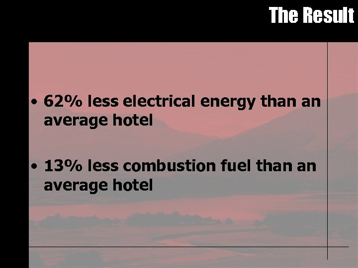 The Result • 62% less electrical energy than an average hotel • 13% less