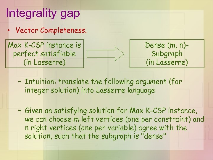Integrality gap • Vector Completeness. Max K-CSP instance is perfect satisfiable (in Lasserre) Dense