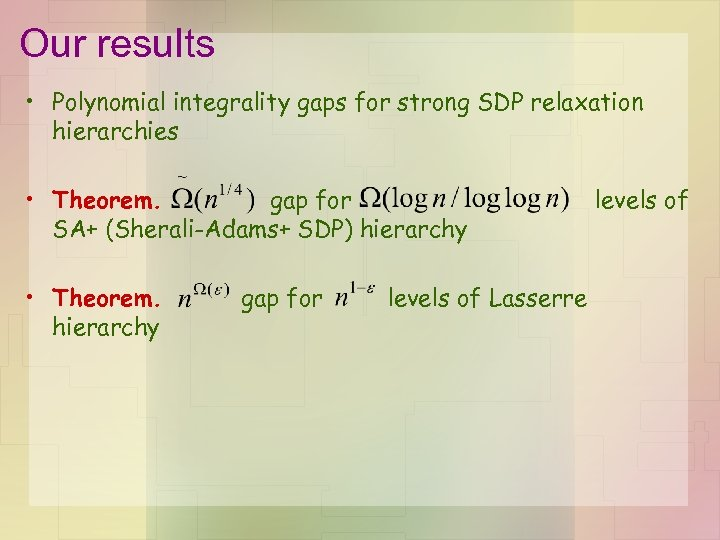 Our results • Polynomial integrality gaps for strong SDP relaxation hierarchies • Theorem. gap