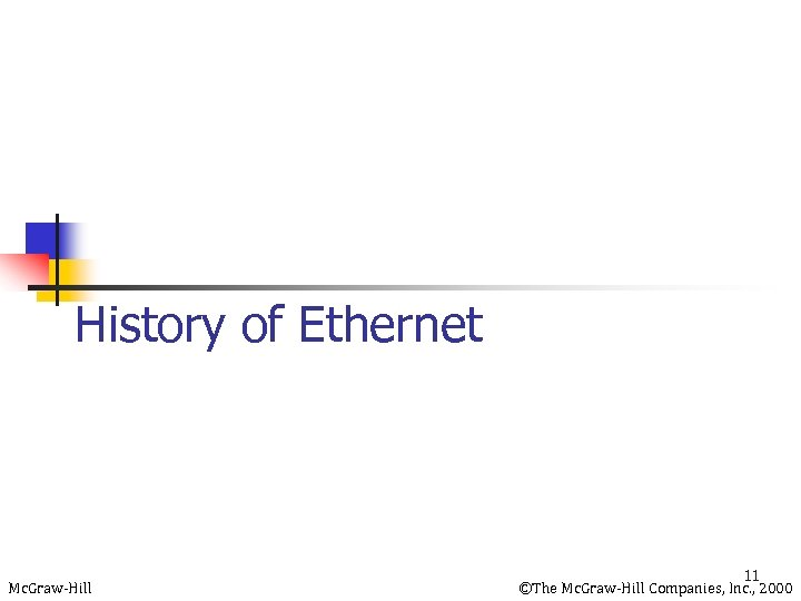 History of Ethernet Mc. Graw-Hill 11 ©The Mc. Graw-Hill Companies, Inc. , 2000