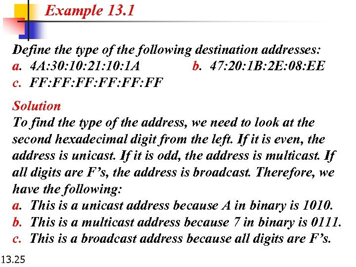 Example 13. 1 Define the type of the following destination addresses: a. 4 A: