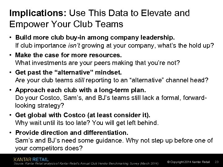 Implications: Use This Data to Elevate and Empower Your Club Teams • Build more