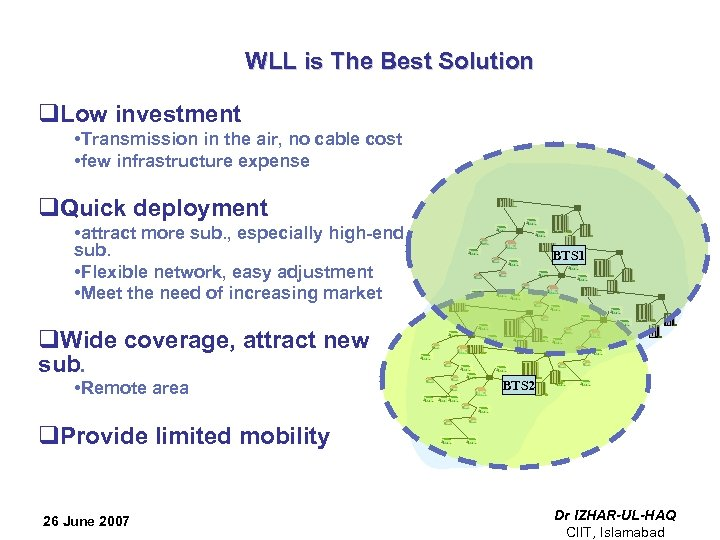 WLL is The Best Solution q. Low investment • Transmission in the air,