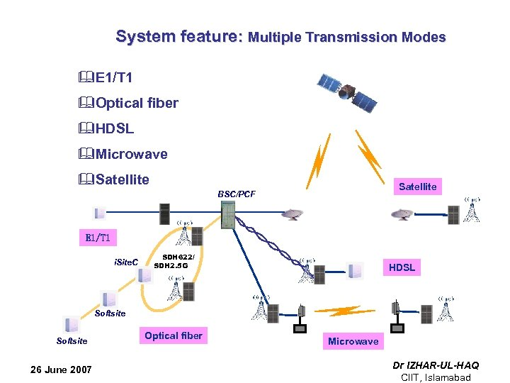 System feature: Multiple Transmission Modes &E 1/T 1 &Optical fiber &HDSL &Microwave &Satellite BSC/PCF
