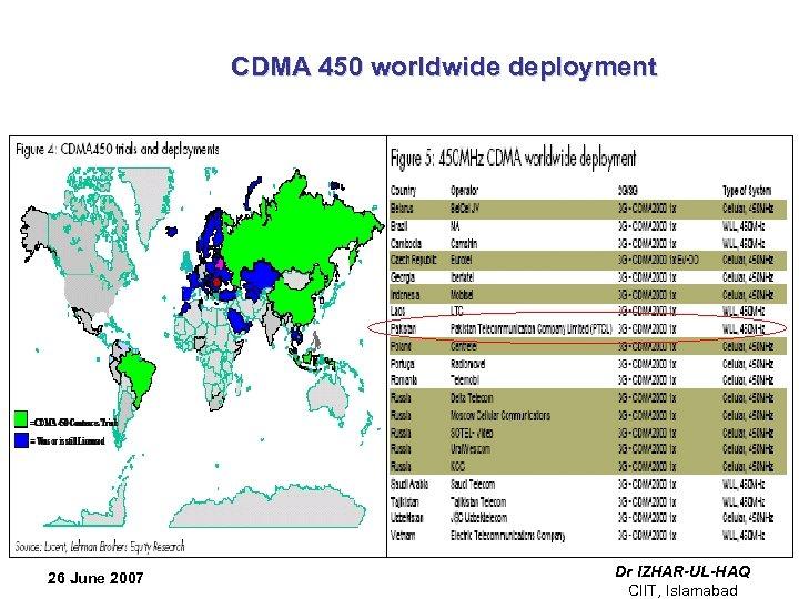 CDMA 450 worldwide deployment 26 June 2007 Dr IZHAR-UL-HAQ CIIT, Islamabad