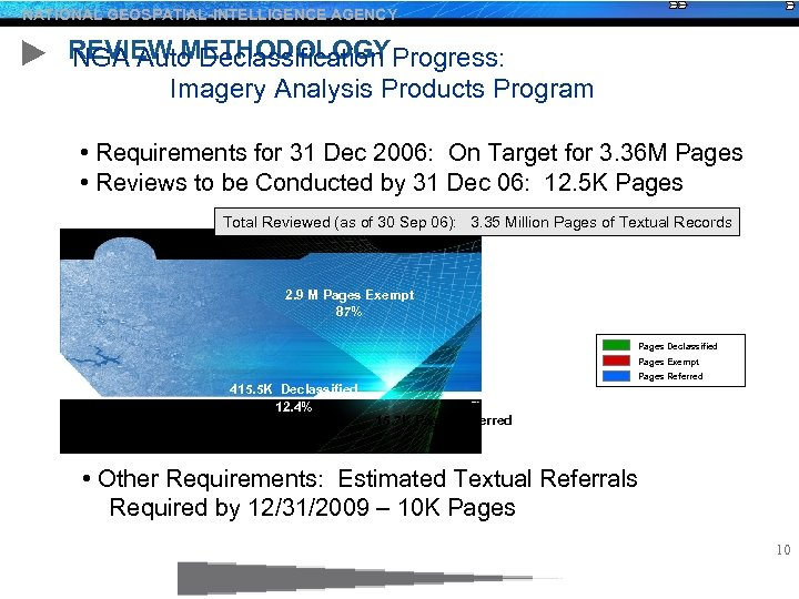 NATIONAL GEOSPATIAL-INTELLIGENCE AGENCY REVIEW METHODOLOGYProgress: NGA Auto Declassification Imagery Analysis Products Program • Requirements