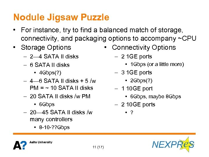 Nodule Jigsaw Puzzle • For instance, try to find a balanced match of storage,