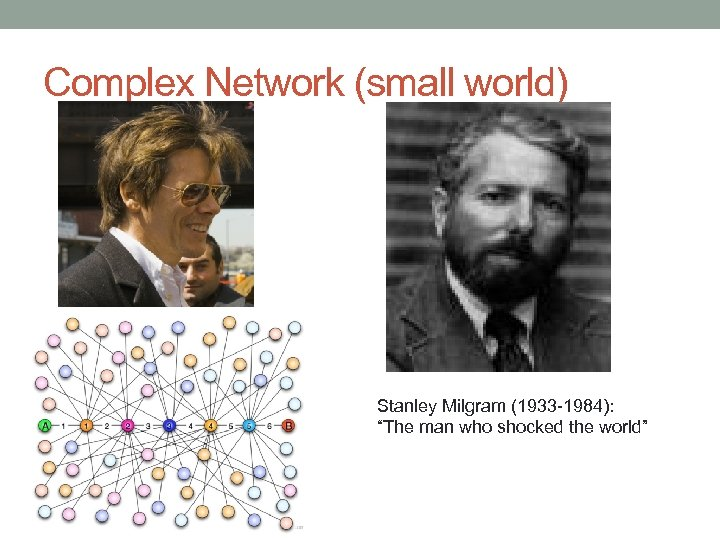 "Complex Network (small world) Stanley Milgram (1933 -1984): ""The man who shocked the world"""