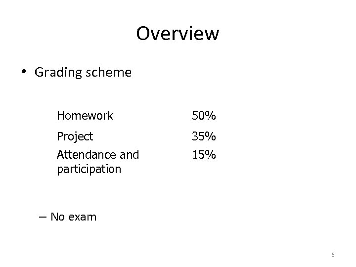 Overview • Grading scheme Homework 50% Project 35% Attendance and participation 15% – No