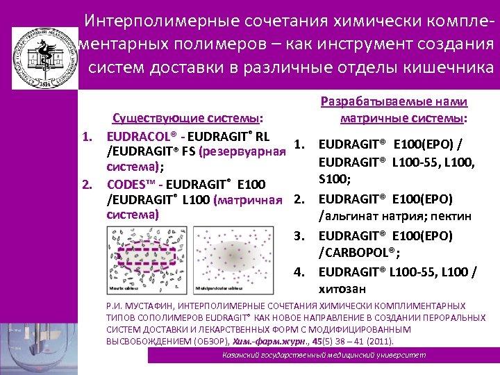 Интерполимерные сочетания химически комплементарных полимеров – как инструмент создания систем доставки в различные отделы