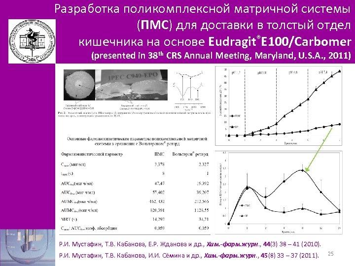Разработка поликомплексной матричной системы (ПМС) для доставки в толстый отдел кишечника на основе Eudragit®Е