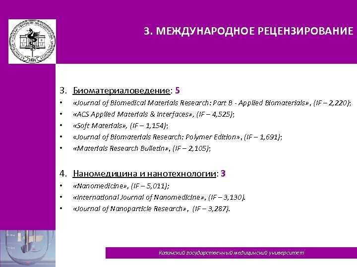 3. МЕЖДУНАРОДНОЕ РЕЦЕНЗИРОВАНИЕ 3. Биоматериаловедение: 5 • • • «Journal of Biomedical Materials Research: