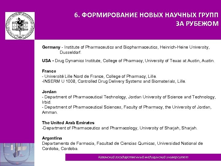 6. ФОРМИРОВАНИЕ НОВЫХ НАУЧНЫХ ГРУПП ЗА РУБЕЖОМ Germany - Institute of Pharmaceutics and Biopharmaceutics,