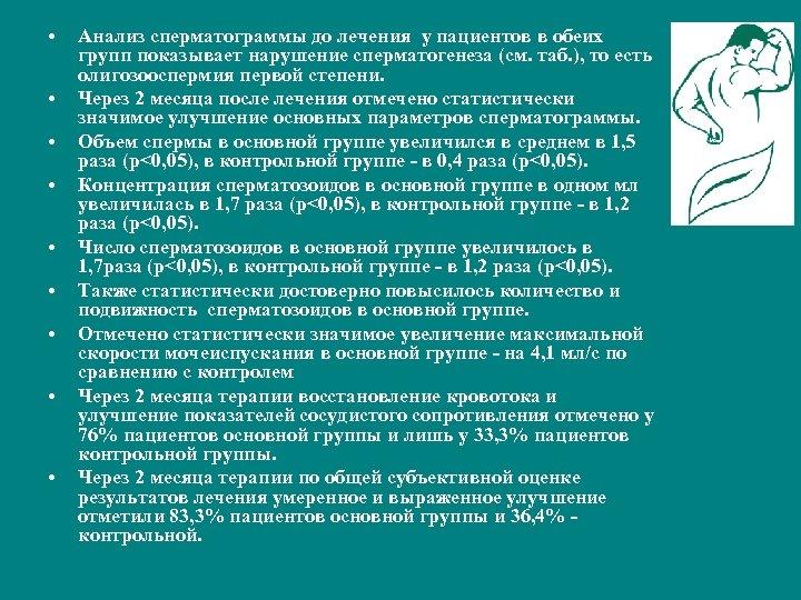• • • Анализ сперматограммы до лечения у пациентов в обеих групп показывает
