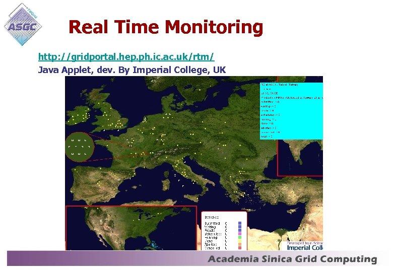 Real Time Monitoring http: //gridportal. hep. ph. ic. ac. uk/rtm/ Java Applet, dev. By