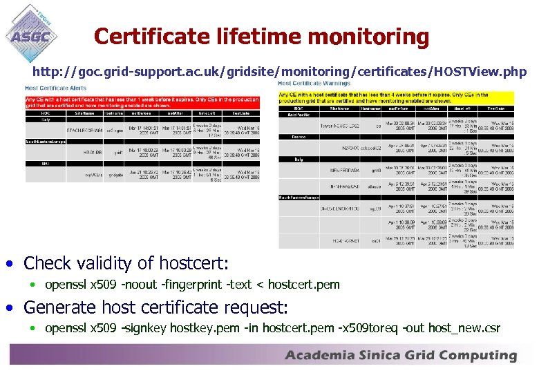 Certificate lifetime monitoring http: //goc. grid-support. ac. uk/gridsite/monitoring/certificates/HOSTView. php • Check validity of hostcert: