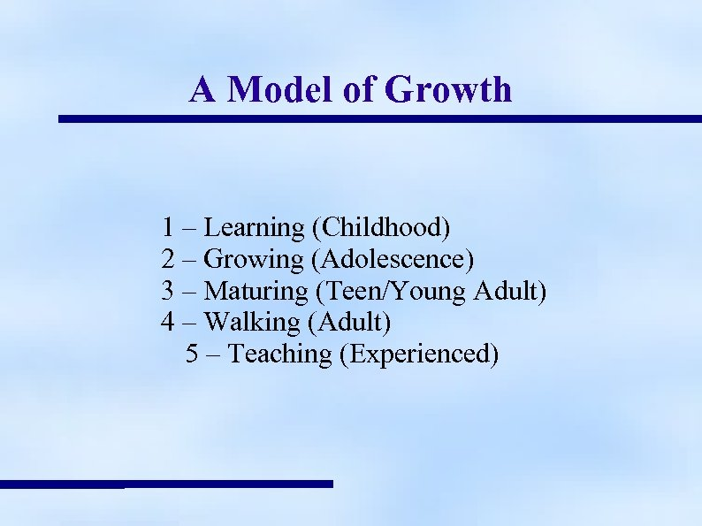 A Model of Growth 1 – Learning (Childhood) 2 – Growing (Adolescence) 3 –