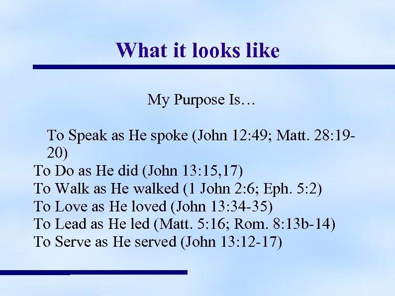 What it looks like My Purpose Is… To Speak as He spoke (John 12: