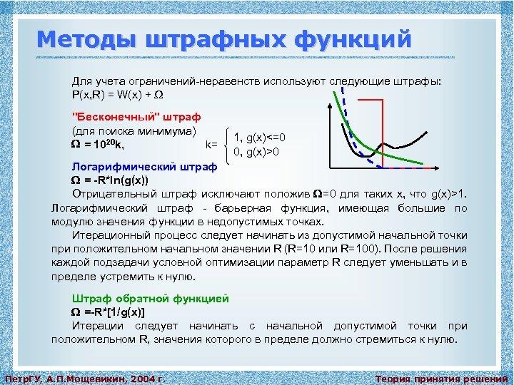 Методы штрафных функций Для учета ограничений-неравенств используют следующие штрафы: P(x, R) = W(x) +
