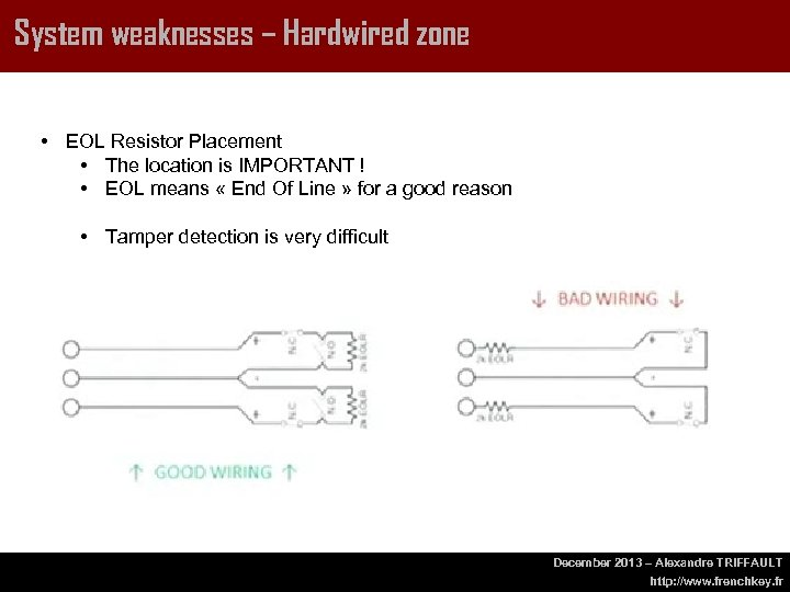 System weaknesses – Hardwired zone • EOL Resistor Placement • The location is IMPORTANT