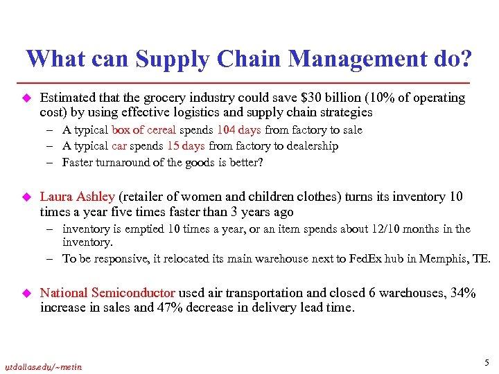 Supply Chain Management Introduction utdallas edu metin 1