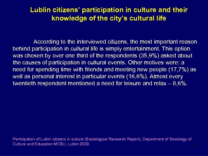 Lublin citizens' participation in culture and their knowledge of the city's cultural life According