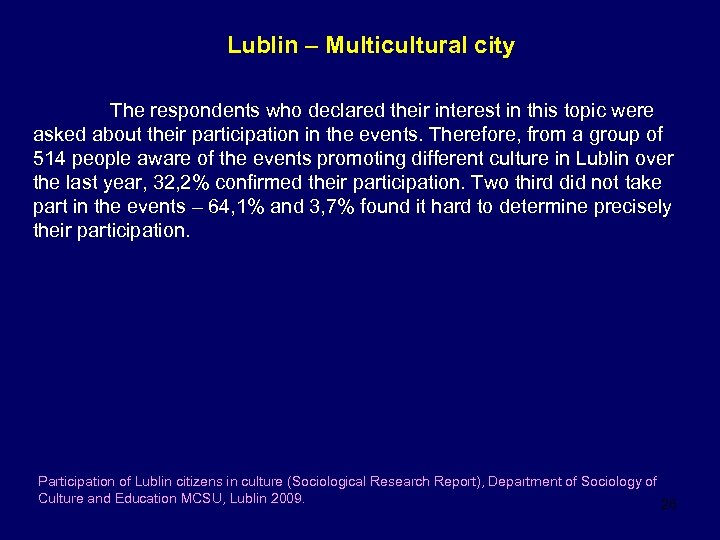 Lublin – Multicultural city The respondents who declared their interest in this topic were