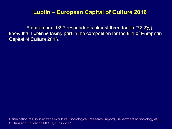 Lublin – European Capital of Culture 2016 From among 1397 respondents almost three fourth