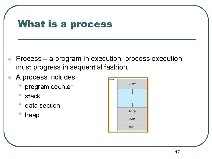 What is a process l l Process – a program in execution; process execution