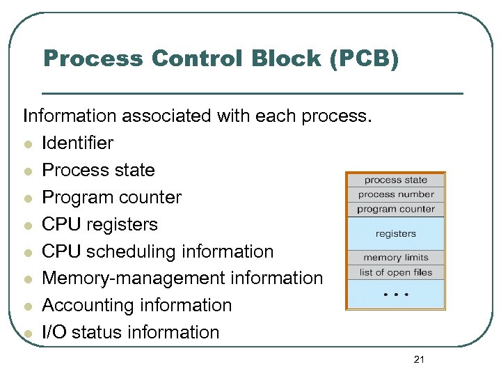 Process Control Block (PCB) Information associated with each process. l Identifier l Process state