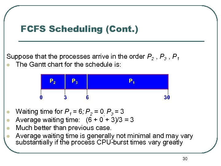 FCFS Scheduling (Cont. ) Suppose that the processes arrive in the order P 2