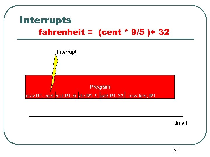 Interrupts fahrenheit = (cent * 9/5 )+ 32 Interrupt Program mov R 1, cent