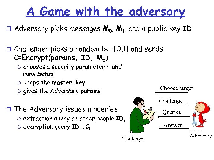 A Game with the adversary r Adversary picks messages M 0, M 1 and