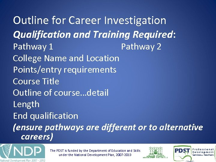 Outline for Career Investigation Qualification and Training Required: Pathway 1 Pathway 2 College Name