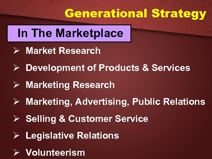 Generational Strategy In The Marketplace Ø Market Research Ø Development of Products & Services