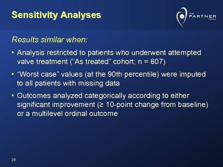 Sensitivity Analyses Results similar when: • Analysis restricted to patients who underwent attempted valve