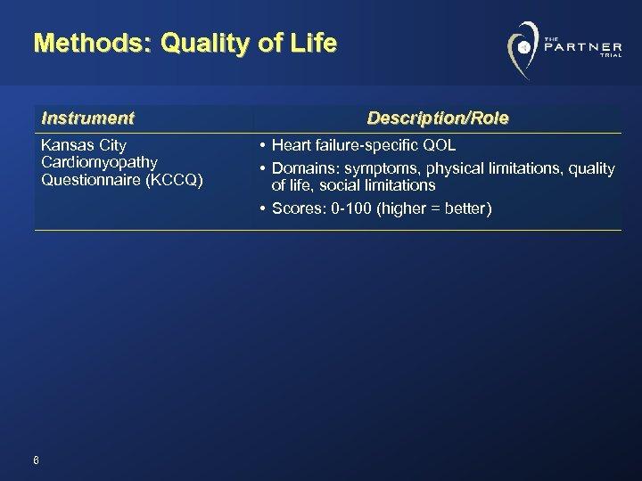 Methods: Quality of Life Instrument Kansas City Cardiomyopathy Questionnaire (KCCQ) 6 Description/Role • Heart