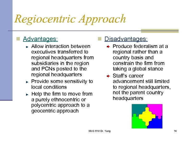 Regiocentric Approach n Advantages: n Disadvantages: Allow interaction between executives transferred to regional headquarters