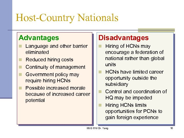 Host-Country Nationals Advantages Disadvantages n Language and other barrier n Hiring of HCNs may