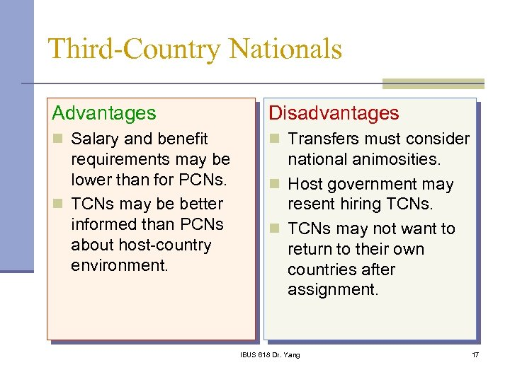 Third-Country Nationals Advantages Disadvantages n Salary and benefit n Transfers must consider requirements may