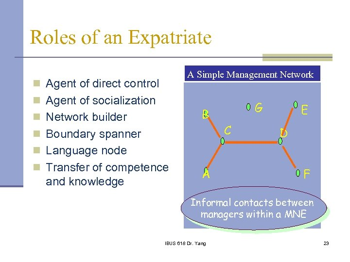 Roles of an Expatriate A Simple Management Network n Agent of direct control n