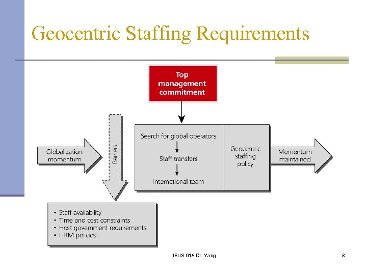 Geocentric Staffing Requirements IBUS 618 Dr. Yang 8